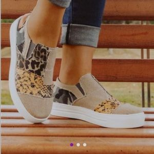Khaki Contrast Animal Print Slip-On Sneaker